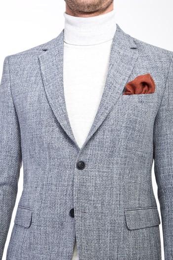Erkek Giyim - Slim Fit Desenli Ceket