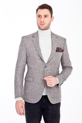 Erkek Giyim - AÇIK GRİ 56 Beden Slim Fit Desenli Ceket