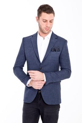 Erkek Giyim - ORTA LACİVERT 48 Beden Slim Fit Desenli Ceket