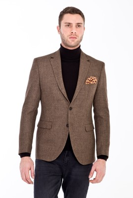 Erkek Giyim - AÇIK KAHVE - CAMEL 50 Beden Slim Fit Desenli Ceket
