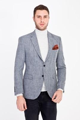Erkek Giyim - FÜME GRİ 48 Beden Slim Fit Desenli Ceket