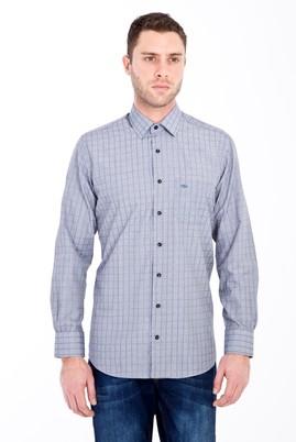 Erkek Giyim - SİYAH 3X Beden Uzun Kol Klasik Desenli Gömlek