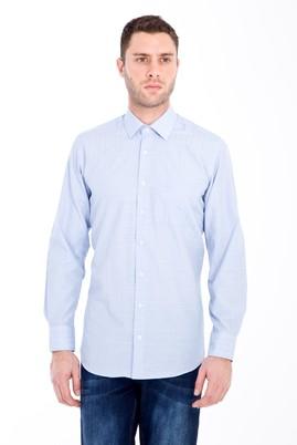 Erkek Giyim - AÇIK MAVİ 3X Beden Uzun Kol Klasik Desenli Gömlek