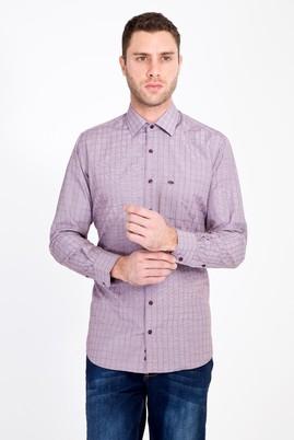 Erkek Giyim - BORDO 4X Beden Uzun Kol Klasik Desenli Gömlek