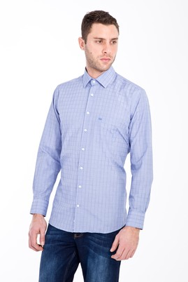 Erkek Giyim - MAVİ 4X Beden Uzun Kol Klasik Desenli Gömlek