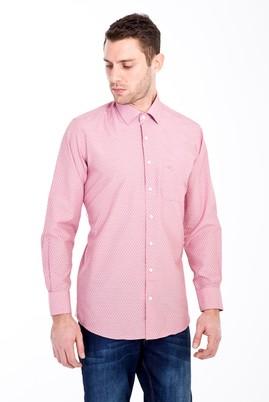 Erkek Giyim - KIRMIZI 4X Beden Uzun Kol Klasik Desenli Gömlek