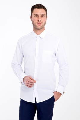 Erkek Giyim - BEYAZ L Beden Uzun Kol Desenli Manşetli Klasik Gömlek