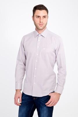 Erkek Giyim - BORDO 4X Beden Uzun Kol Klasik Çizgili Gömlek