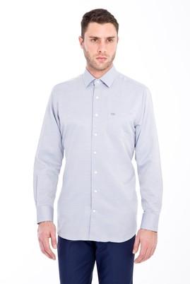 Erkek Giyim - SİYAH M Beden Uzun Kol Klasik Desenli Gömlek