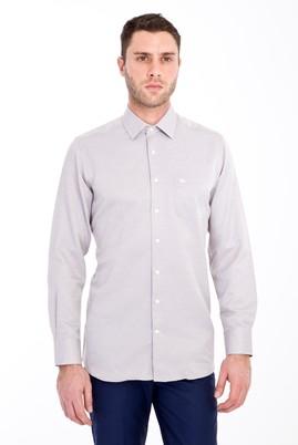 Erkek Giyim - KAHVE L Beden Uzun Kol Klasik Desenli Gömlek