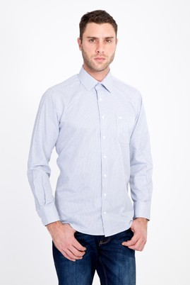 Erkek Giyim - LACİVERT M Beden Uzun Kol Klasik Çizgili Gömlek