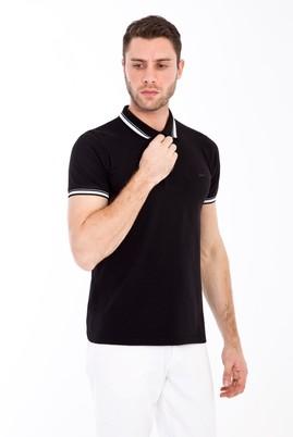 Erkek Giyim - SİYAH M Beden Polo Yaka Nakışlı Slim Fit Tişört