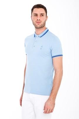 Erkek Giyim - AÇIK MAVİ L Beden Polo Yaka Nakışlı Slim Fit Tişört