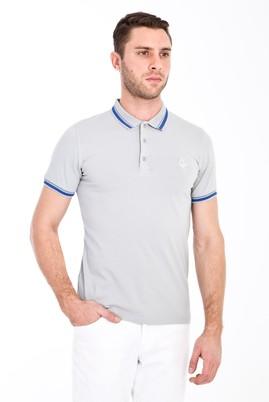 Erkek Giyim - ORTA GRİ XL Beden Polo Yaka Nakışlı Slim Fit Tişört
