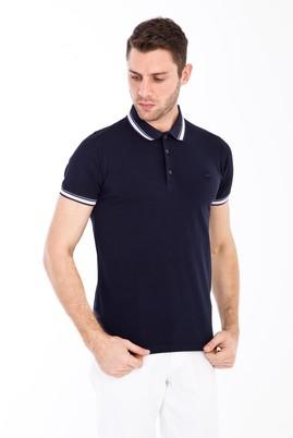 Erkek Giyim - ORTA LACİVERT S Beden Polo Yaka Nakışlı Slim Fit Tişört