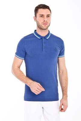 Erkek Giyim - GÖK MAVİSİ S Beden Polo Yaka Nakışlı Slim Fit Tişört