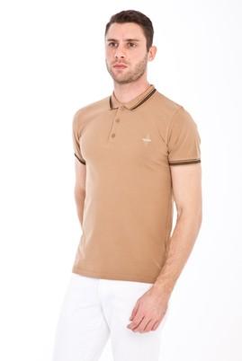 Erkek Giyim - ORTA KAHVE L Beden Polo Yaka Nakışlı Slim Fit Tişört