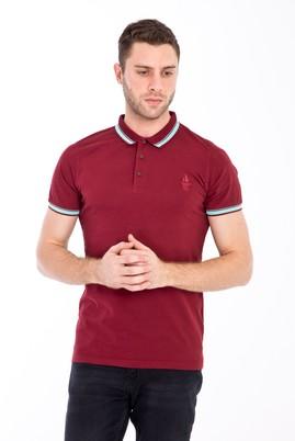Erkek Giyim - VİŞNE XL Beden Polo Yaka Nakışlı Slim Fit Tişört