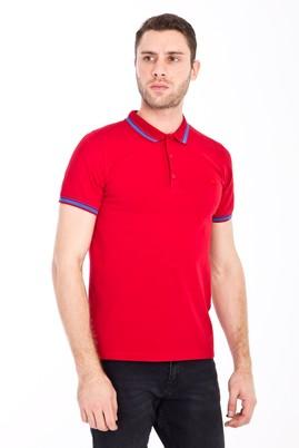 Erkek Giyim - AÇIK KIRMIZI M Beden Polo Yaka Nakışlı Slim Fit Tişört