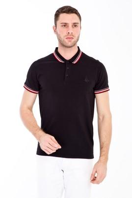 Erkek Giyim - SİYAH S Beden Polo Yaka Nakışlı Slim Fit Tişört