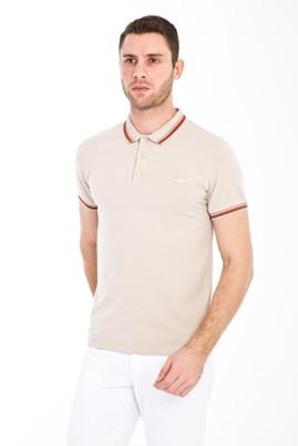 Erkek Giyim - KREM S Beden Polo Yaka Nakışlı Slim Fit Tişört