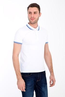 Erkek Giyim - BEYAZ XL Beden Polo Yaka Nakışlı Slim Fit Tişört