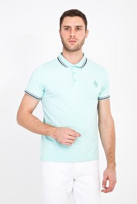 Erkek Giyim - ÇAĞLA YEŞİLİ S Beden Polo Yaka Nakışlı Slim Fit Tişört