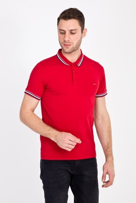 Erkek Giyim - AÇIK KIRMIZI L Beden Polo Yaka Nakışlı Slim Fit Tişört