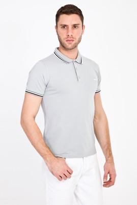 Erkek Giyim - ORTA GRİ S Beden Polo Yaka Nakışlı Slim Fit Tişört