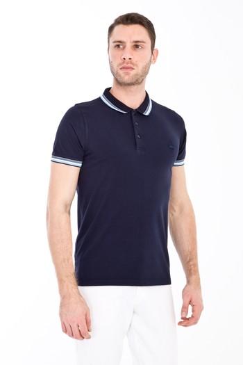 Erkek Giyim - Polo Yaka Nakışlı Slim Fit Tişört