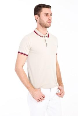 Erkek Giyim - ORTA BEJ M Beden Polo Yaka Nakışlı Slim Fit Tişört