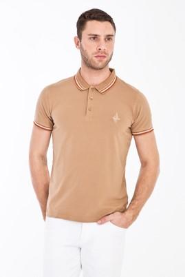 Erkek Giyim - CAMEL S Beden Polo Yaka Nakışlı Slim Fit Tişört