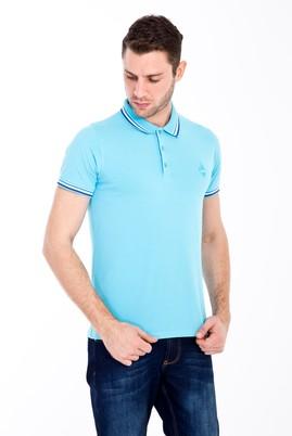 Erkek Giyim - ORTA TURKUAZ S Beden Polo Yaka Nakışlı Slim Fit Tişört