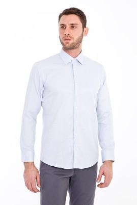 Erkek Giyim - Lacivert M Beden Uzun Kol Desenli Gömlek