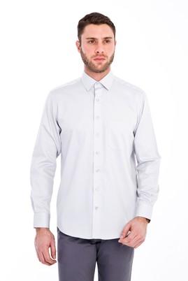 Erkek Giyim - AÇIK GRİ XXL Beden Uzun Kol Non Iron Saten Klasik Gömlek