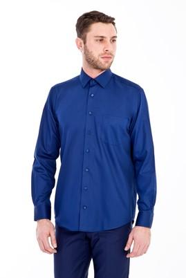 Erkek Giyim - LACİVERT 4X Beden Uzun Kol Non Iron Saten Klasik Gömlek