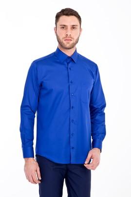 Erkek Giyim - MAVİ XL Beden Uzun Kol Non Iron Saten Klasik Gömlek