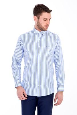 Erkek Giyim - MAVİ L Beden Uzun Kol Çizgili Gömlek