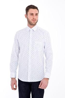 Erkek Giyim - BEYAZ 3X Beden Uzun Kol Baskılı Gömlek