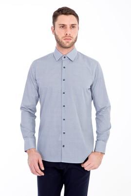 Erkek Giyim - LACİVERT L Beden Uzun Kol Baskılı Slim Fit Gömlek