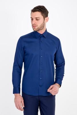 Erkek Giyim - LACİVERT M Beden Uzun Kol Non Iron Saten Slim Fit Gömlek