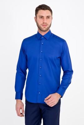 Erkek Giyim - MAVİ M Beden Uzun Kol Non Iron Saten Slim Fit Gömlek