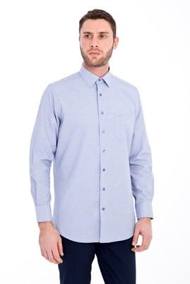Erkek Giyim - LACİVERT 3X Beden Uzun Kol Desenli Klasik Gömlek
