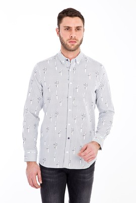 Erkek Giyim - BEYAZ XL Beden Uzun Kol Baskılı Slim Fit Gömlek