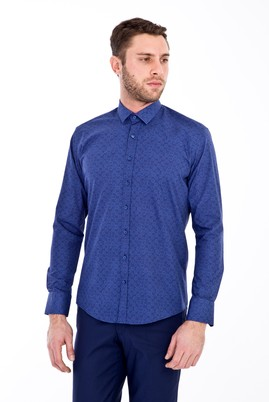 Erkek Giyim - KOYU MAVİ XL Beden Uzun Kol Baskılı Slim Fit Gömlek