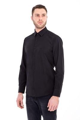 Erkek Giyim - SİYAH 4X Beden Uzun Kol Klasik Gömlek