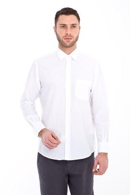 Erkek Giyim - BEYAZ XL Beden Uzun Kol Klasik Gömlek