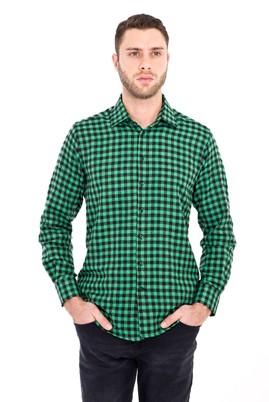 Erkek Giyim - ÇİMEN YEŞİLİ XXL Beden Uzun Kol Ekose Gömlek