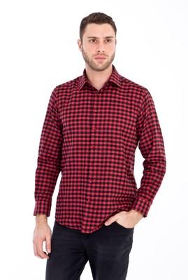 Erkek Giyim - KOYU KIRMIZI 4X Beden Uzun Kol Ekose Gömlek
