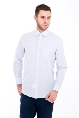 Erkek Giyim - KOYU MAVİ M Beden Uzun Kol Çizgili Klasik Gömlek